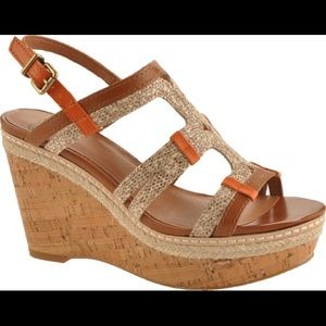 Lucky Brand Keena Leather Snake Cork Wedges